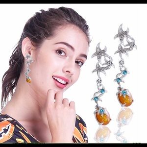 Super Cute Starfish Crystal Drop Earrings! New